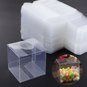 Transparent Pvc Cube Gift Candy Boxes Clear Wedding Party Cup Cake Packaging Box
