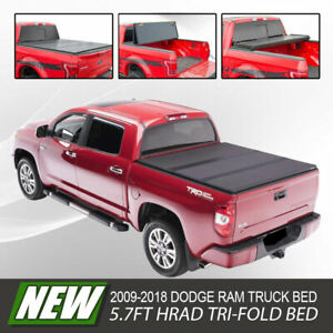 For 2009 2019 Dodge Ram 5 7ft Bed Hard Trifold Cover Solid Fold Tonneau Cover