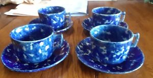Vintage Spatterware Cups And Saucers Set 4 Antique Cobalt Unmarked English