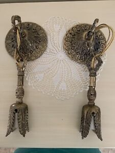 Pair Of Antique Wall Sconces Lamps Spanish Flair Made In Spain