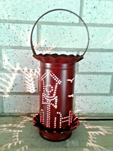 New Primitive Punched Tin Electric Wax Potpourri Warmer And Bulb Mint Condition