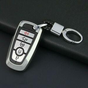 Silver Smart Car Key Fob Chain Ring Cover Case Keychain Accessories Fit For Ford