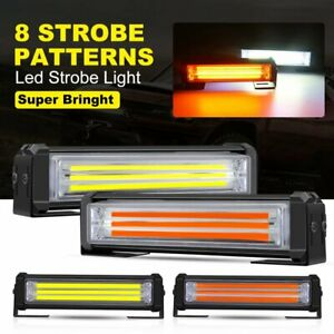 4x Cob Led Double Color Amber White Emergency Warning Flash Strobe Light Bar