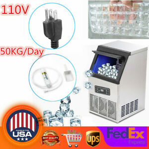 Portable Commercial Ice Cube Maker Machine Stainless Steel Auto 110lbs 50kg day