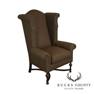 The Charles Stewart Company Large Jacobean Style Wing Chair