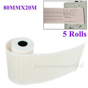 5 Rolls 80mmx20m Thermal Printing Paper For Ecg Ekg Machine Electrocardiograph