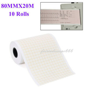 10 Rolls 80mmx20m Thermal Printing Paper For Ecg Ekg Machine Electrocardiograph
