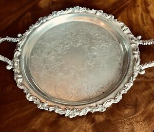 Large Vintage Silver Plated Serving Tray Twin Handled Victorian Style