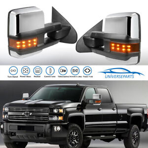 Pair Power Fold Towing Mirror For 14 18 Chevy Silverado Gmc Sierra Led Light New