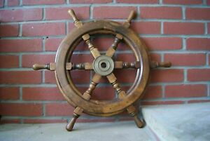 24 Antique Brass Wooden Ship 6 Spoke Nautical Vintage Wall Decor Steering Wheel