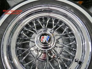 15 Inch Buick 30 Spoke Mclean Chrome Wire Wheels Whitewall Tires Package Set New