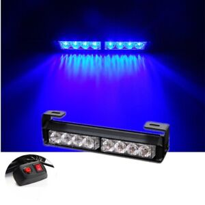Blue 8 Led 9 Truck Car Emergency Warning Traffic Advisor Strobe Light Bar Grill