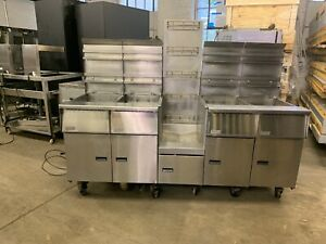 Pitco Sgh50 50lb Nat Gas Battery Of 4 Fryer Frialator 5 Guys Battery With Rack
