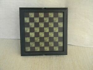 Wooden Checkerboard Lid Lifts Open For Storage Primitive Country Farmhouse