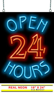 Open 24 Hours Neon Sign Jantec 18 W X 24 H Pharmacy Grocery Diner