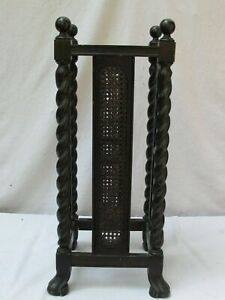 Antique English Oak Barley Twist W Side Caning Umbrella Plant Stand Or Table