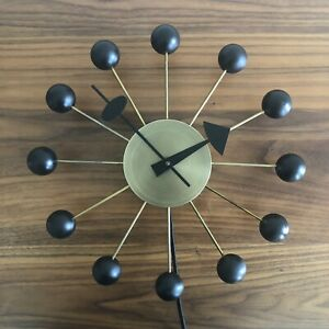 Vintage George Nelson Black Gold Ball Clock Howard Miller Mid Century Mod 4755
