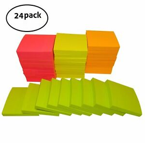 Vikadi Best Value pack Of 24 Self stick Memo Notes Sticky Pads 3x3 Inches 1
