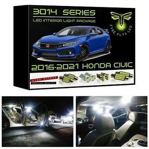 White Led Interior Lights Package Kit For 2016 2020 10th Gen Honda Civic 3014smd