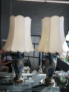 Pair Of Rare Antique Art Crafts Royal Doulton Thistle Lamps W Period Shades