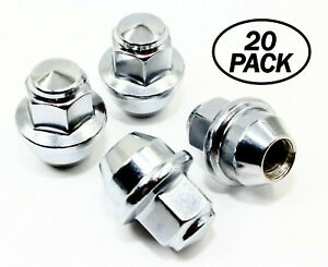 20 12x1 5 19mm Hex Chrome Oem Factory Style Acorn Hubcap Wheel Cover Lug Nuts