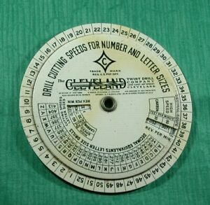 Vintage 1935 Cleveland Gauge Drill Cutting Speeds Numbers Letters Fraction