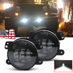 4 Round Led Fog Lights Driving Lamps For Jeep Jl Rubicon Sahara Unlimited 18 19