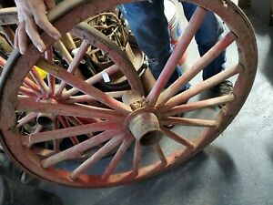 Antique Country Red Wagon Wheel 36 In Original Paint
