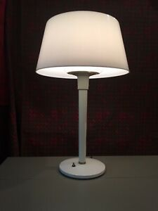 Vintage Mcm Lightolier White Acrylic And Metal Table Lamp By Gerald Thurston