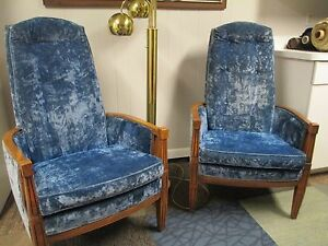 Mid Century Hollywood Regency High Back Throne Tub Chairs Crushed Velvet