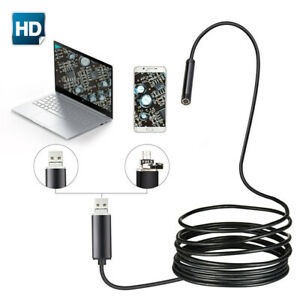 Endoscope Waterproof Snake Borescope Usb Inspection Camera Kit 1m 7mm 6led Hd