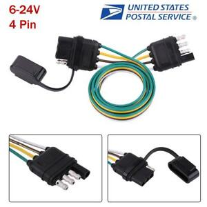 6 24v Trailer Wiring Harness Extension 4 Pin Plug Flat Wire Connector Adapter Us