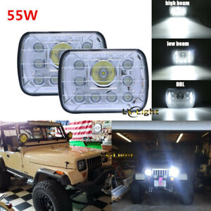 5x7 7x6 Led Headlights Hi Lo Beam Halo Drl Lamp For Gmc Chevrolet Jeep Xj Yj