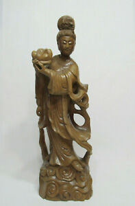 Fine Old Large Chinese Hardwood Carved Immortal Fairy Figure Statue 19 3 4
