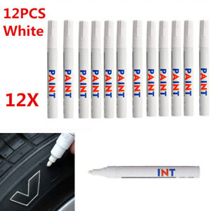 12 Pcs White Waterproof Permanent Vehicle Car Tyre Tire Tread Paint Marker Pen