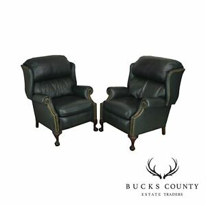 Mckinley Leather Hunter Green Pair Chippendale Style Wing Chair Recliners