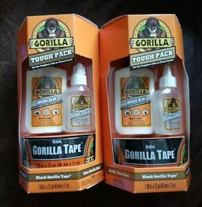 Lot Of 2 Gorilla Tough Packs With Black Gorilla Tape Clear Glue And Wood Glue