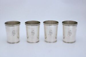 Manchester Sterling Silver Mint Julep Cups Kentucky Pattern 3759 Set Of Four S