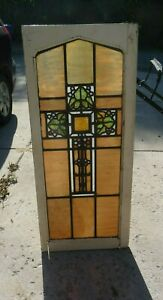 Vintage Cross Stained Glass Window Church Leaded Antique Flower Pattern