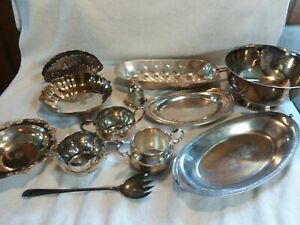 Silver Plated Lot Of 12 Pc Platters Sugar Bowl Creamer S Serving Dishes