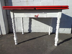 Antique Kitchen Table Dining Leaves Metal Desk Vanity Dining Wood Shabby Chic
