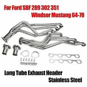 Fits Ford Sbf 289 302 351 Windsor Mustang 64 70 Long Tube Ss Exhaust Header