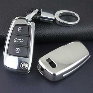 For Audi Q3 Q7 A1 A3 S3 Tt Silver Key Fob Case Cover Keychain Accessories New