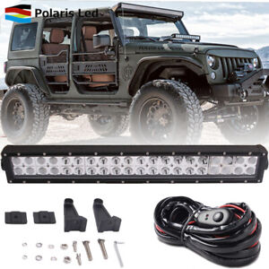 22 Led Work Light Bar Hood Bumper Off road Driving Lamp wire For Jeep Wrangler