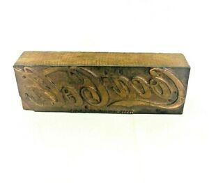 Vintage Wood Metal Advertising Printing Press Block Stamp Ink Plate Coca cola
