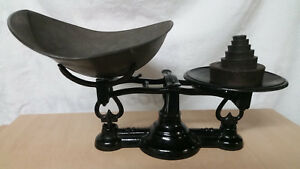 Antique Counter Balance Scale With Tin Scoop And Multiple Weights