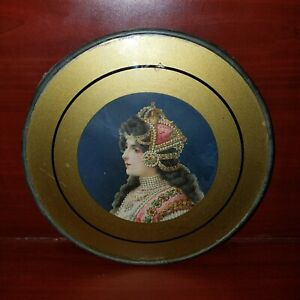 Vintage 7 5 Diameter Art Deco Photo Frame Reverse Painted Glass In Lead Frame