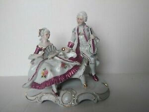 Victorian French Courting Couple Figure Statue