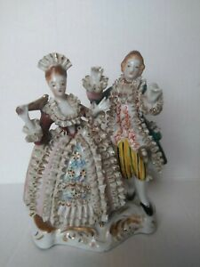 Victorian French Courting Couple Ruffle Porcelain Figure Statue
