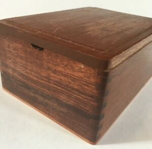 Oak Finger Jointed Wooden Cigar Box Well Constructed Needs Refinishing